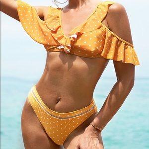 Brand new yellow polka dots bikini